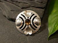 Hübscher 835 Silber Anhänger Herzen Rund Amulett Jugendstil Art Deco Rauchquarz?