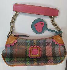 Dooney & Bourke Pink Tartan Plaid Leather Flower Heart Mini Zip Shoulder Bag
