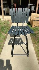 Eames Era Vintage Swivel Chair Wood Slat & Square Metal Mid Century Modern