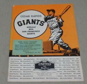 Vintage 1972 Cedar Rapids Giants Baseball Program Iowa