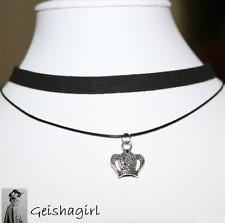 Tibetan Silver Gothic CrownBlackRibbonLace Choker Collar NecklaceUK Seller