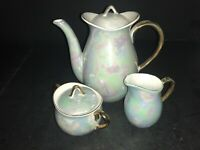 FINE CHINA OF JAPAN COFFEE POT CREAMER & SUGAR BOWL MOTHER OF PEARL BLUE GOLD