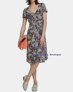 PER UNA NAVY BLUE MULTI BURNOUT ABSTRACT PRINT JERSEY SUMMER DRESS SIZE 8-20 NEW