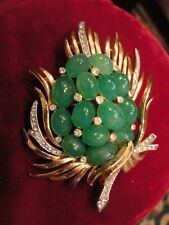 Crown Trifari Jade Brooch Signed Jewels of India Faux Jade Cabochon 60's Vintage