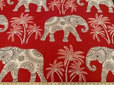RAVI RED Home Accents Ronnie Gold Cotton Elephant Red Animal Print Fabric