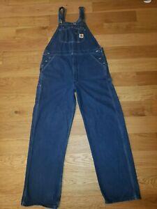 Carhartt Men's Washed Denim Bib Overalls Dark Size 40 X 34