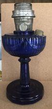 Antique Aladdin Nu Type Burner Cobalt Blue Lincoln Drape Lamp W/ Burner.