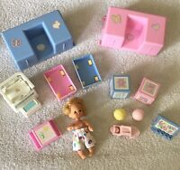 Vintage Mattel Happy Heart Family Baby Playroom Lot Of Furniture Fits Barbie