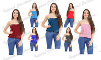 New Plus Size Womens Plain Strapless Ladies Long Bandeau Boob Tube Top