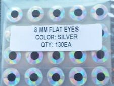 New listing 130pcs, Holographic Silver Flat adhesive fish eyes 8mm, Fly Tying