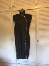 Vintage 1980s Designer Janine Pimm Chapel Street Sz 14 Dress Black Creme Piping