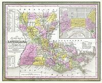 MAP ANTIQUE 1853 MITCHELL LOUISIANA ROADS CANALS REPLICA POSTER PRINT PAM1725