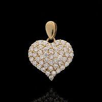 1.00tcw Brilliant Round Created Diamond Pave Heart Pendant 14k Yellow Gold Charm