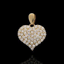 1.00tcw Brilliant Round Created Diamond Pave Heart Pendant 14k Yellow Gold Charm