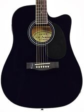 Black Acoustic Electric Guitar with Case and Picks Thinline Cutaway by Jameson