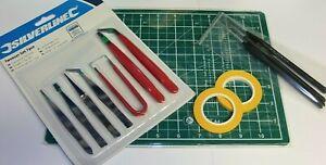 model making kit cutting mat masking tape brushes and tweezer set