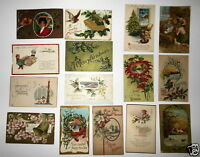 LOT OF 28 CHRISTMAS ANTIQUE  POSTCARDS MANGER BELLS GREETINGS 1900'S  1910'S ETC