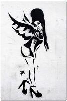 "BANKSY STREET ART CANVAS PRINT Amy winehouse 16""X 12"" stencil poster"