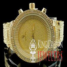 MEN'S WOMEN'S NEW 14K YELLOW GOLD FINISH LAB DIAMOND SIMULATE HIP HOP WATCH