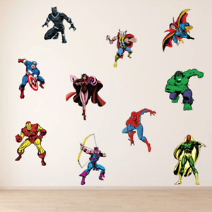 FULL SET Marvel Avengers Vintage Kids Boys Girls Bedroom Vinyl Wall Art Stickers