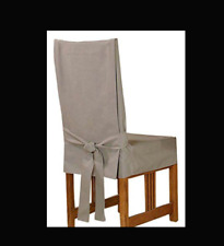 Sure Fit Short Duck cotton dining chair color linen beige washable slipcover NEW