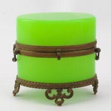 Antique Opaline Oval Glass Box Casket France
