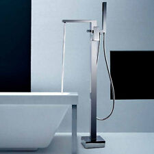 BRAYTON CUBE BATHROOM CHROME FREESTANDING BATH SHOWER MIXER TAP