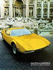 Old Print. Yellow 1971 DeTomaso Pantera Auto Ad