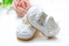 Nouveau Bébé Filles Blanc Baptême Fête Chaussures 6-9 mois