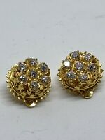 Vintage MMA Signed Gold Plated Sterling Silver Rhinestone Button Earrings