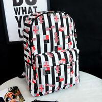 Ladies Backpack PU Denim Lace Floral School Shoulder Bag Rucksack Canvas Travel