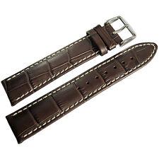 22mm Hirsch Modena Mens Brown Alligator-Grain Leather Watch Band Strap