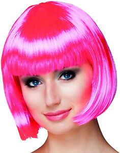 Hot Pink Cabaret Style Wig Pageboy Short Bob Straight Bangs One Size Halloween