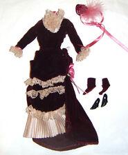 Barbie Ensemble/Clothes Velvety Burgundy Gown For Barbie Doll hf11