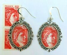 EARRINGS Vintage Stamp French 1977 SABINE, AFTER DAVID Postage Silver Plated