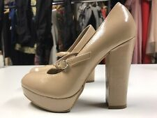 Beige New Look Mary-Jane Lolita Shoes Size 3 - Patent Pleather Chunky Heel
