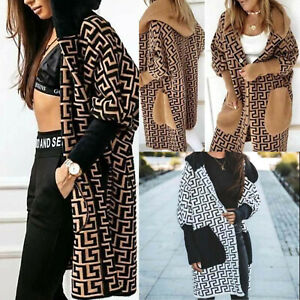 Women's Ladies Greek Print Cable Knitted Pocket Hooded Long Cardigan Jumper 8-16
