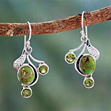 Hook Earring Women Vintage Jewelry Boho Tibetan Silver Turquoise Dangle Drop