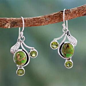 Boho Tibetan Silver Turquoise Dangle Drop Hook Earring Women Vintage Jewelry