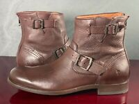 Frye Brayden Engineer  Mens Brown Leather Zipper Motorcycle Boots Shoes Size 9 D