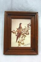 "Vintage Dove Lithograph Print Framed 8"" x 10"" Hand Signed Richard G Lowe"