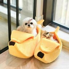 Small Pet Bed Banana Shape Fluffy Warm Soft Plush Breathable Bed Banana Cat Bed