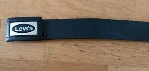MENS LEATHER BELT REAL Leather LEVIS 501 Black  Belt & Buckle Size 38 IN LENGTH
