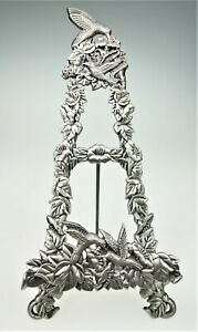 Pewter Metal Hummingbird Floral Easel Stand Display Photo Pic Plate Holder