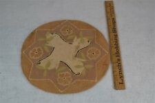 antique mat doll house rug silk hooked tan green round 9.5 in. original