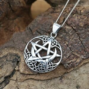 925 Sterling Silver Pentagram Wicca Pagan Pendant Necklace Jewellery