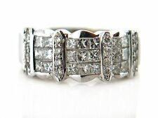 1.38 CT Natural Princess & Round Cut Diamond Lady's Ring VS/G 18K White Gold