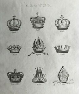 1807 Antique Print; Royal Crowns from Europe