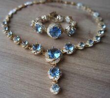 925 Sterling Silber Aquamarin Türkische Handarbeit Set Ring Ohrring Halskette 6-12