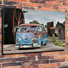 "VW Camper STAMPATI SU TELA A1.30""x20"" ~ Deep 30mm TELAIO Splitty Volkswagen Van V6"